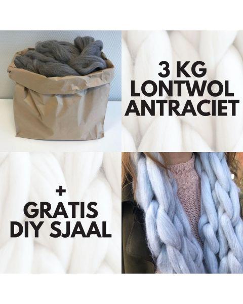 Warme Winterdagen Sale Zak met 3 kilo Lontwol Antraciet/Bruin gemeleerd (woondeken/plaid) + gratis DIY sjaal