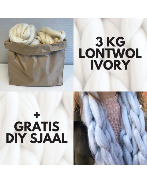 Warme Winterdagen Sale Zak met 3 kilo Lontwol Ivory (woondeken/plaid) + gratis DIY sjaal