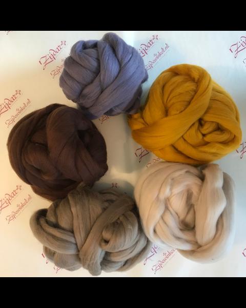 Set extra fijne Merino lontwol Lavendel & Brownies 5 x 100 gram