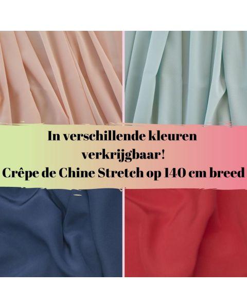 In diverse kleuren verkrijgbaar crepe de chine stretch