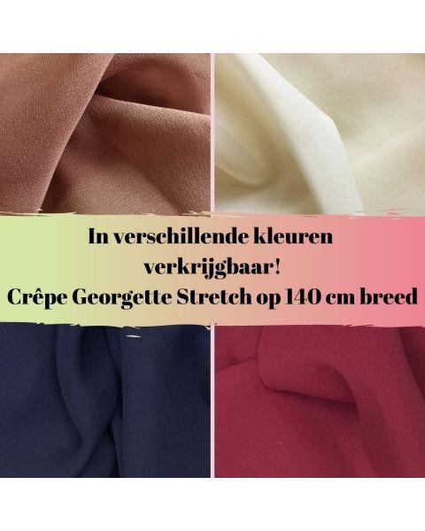 In diverse kleuren verkrijgbaar crepe georgette stretch
