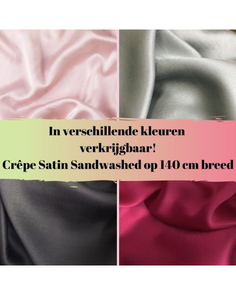In diverse kleuren verkrijgbaar crepe satin sandwashed