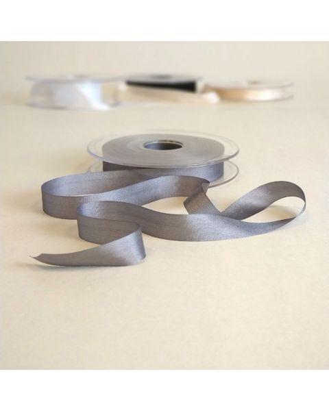 Zijden lint grijs | 13 mm breed | Per meter