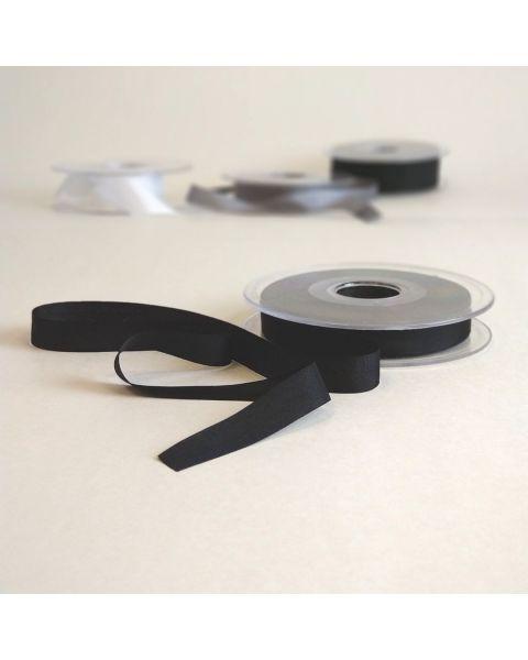 Zijden lint zwart | 13 mm breed | Per meter