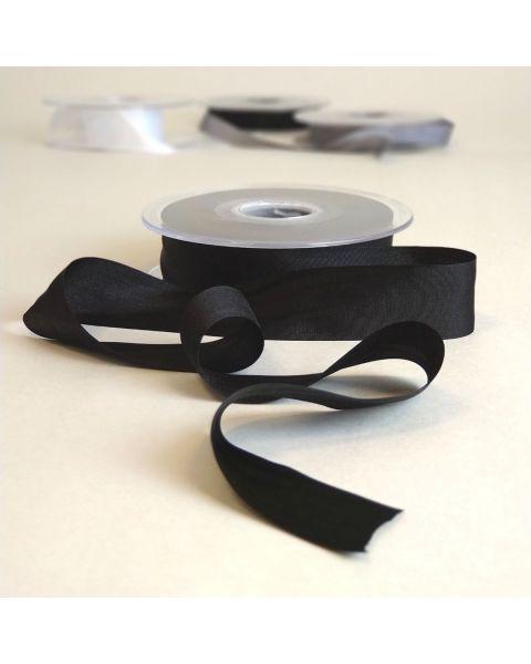 Zijden lint zwart | 25 mm breed | Per meter
