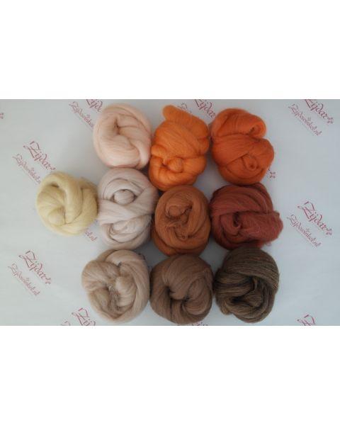Sample set Brown/Orange, 25 gram van iedere lontwol kleur (10 totaal)