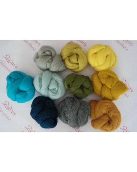 Sample set Yellow/Green, 25 gram van iedere lontwol kleur (10 totaal)