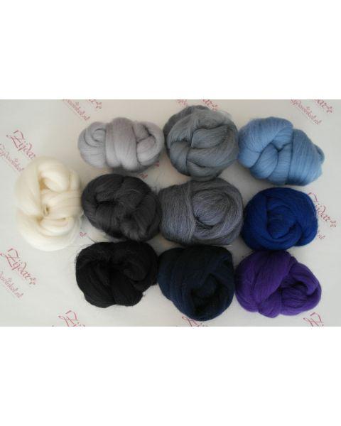 Sample set Blue/Black, 25 gram van iedere lontwol kleur (10 totaal)