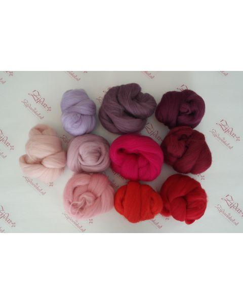 Sample set Purple/Red, 25 gram van iedere lontwol kleur (9 totaal)