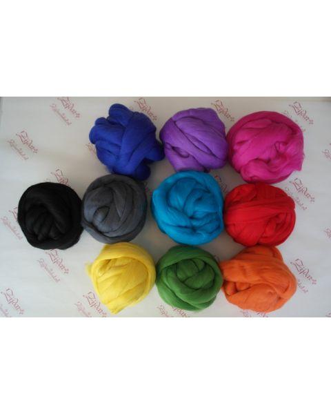 Set extra fijne Merino lontwol Basiskleuren 10 x 100 gram