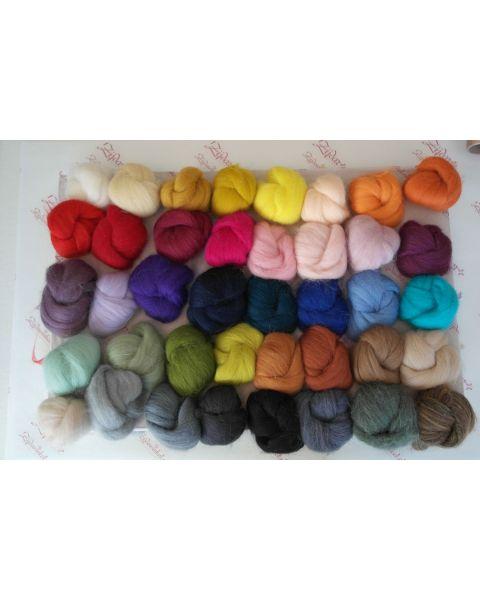 Sample set compleet kleur, 25 gram van iedere lontwol kleur (39 totaal)