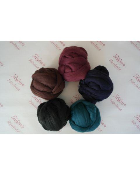 Set extra fijne Merino lontwol Donkere kleuren 5 x 100 gram