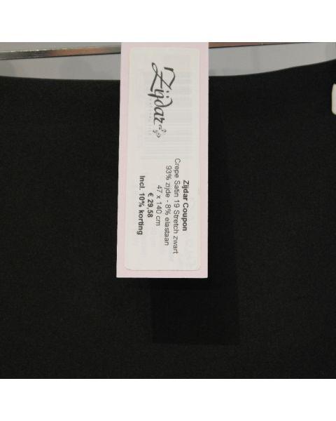 Zijdar coupon Crepe Satin 19 Stretch zwart / 92% zijde - 8% elastaan / 47 x 140 cm