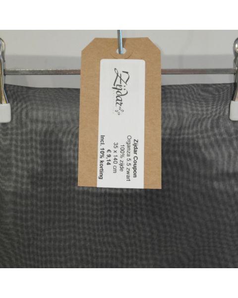 Zijdar coupon Organza 5.5 zwart / 100% zijde / 35 x 140 cm