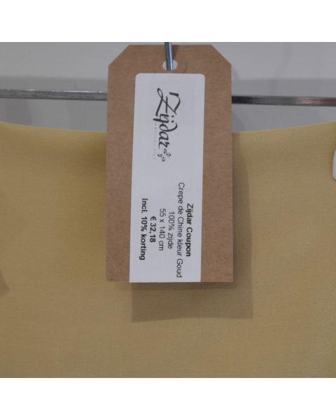 Zijdar coupon Crepe de Chine kleur goud / 100% zijde / 55 x 140 cm
