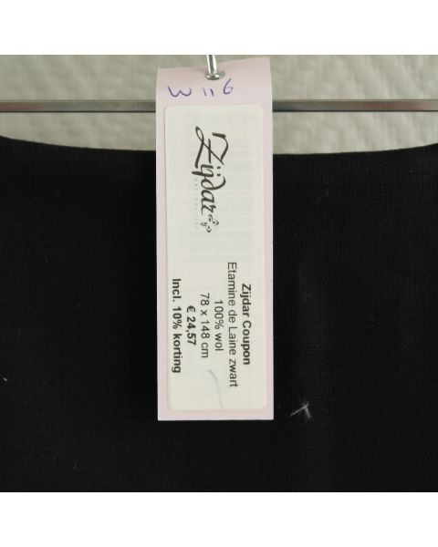 Zijdar coupon Etamine de Laine zwart / 100% wol / 78 x 148 cm