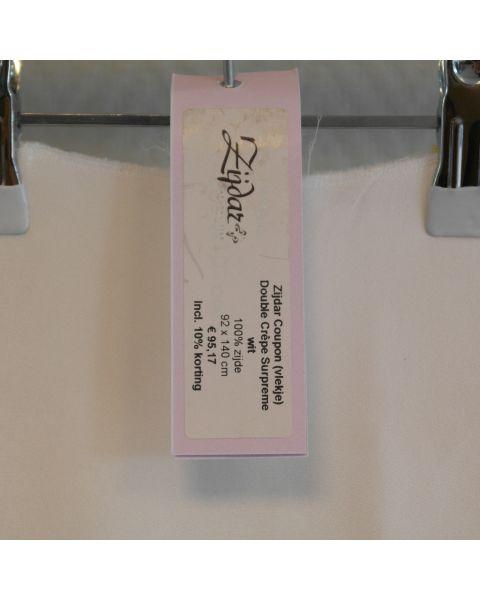 Zijdar coupon Double Crepe Surpreme Wit (vlek) / 100% zijde / 92 x 140 cm
