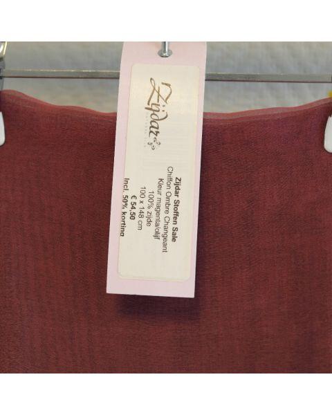 Zijdar coupon Chiffon Ombre Changeant magenta-olijf / 100% zijde / 100 x 148 cm