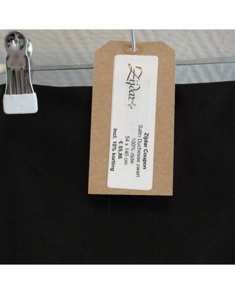 Zijdar coupon Satin Duchesse zwart / 100% zijde / 54 x 140 cm
