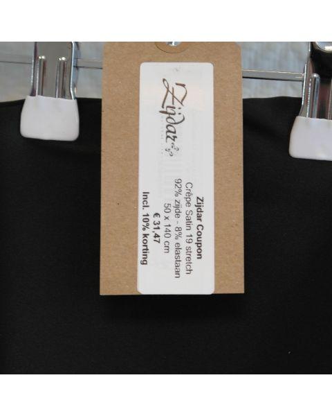 Zijdar coupon Crêpe Satin 19 Stretch zwart / 92% zijde - 8% elastaan / 50 x 140 cm
