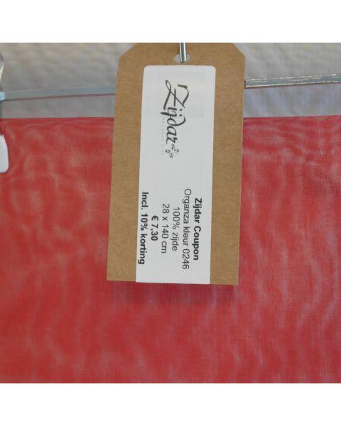Zijdar coupon Organza 5.5 kleur 0246 / 100% zijde / 28 x 140 cm