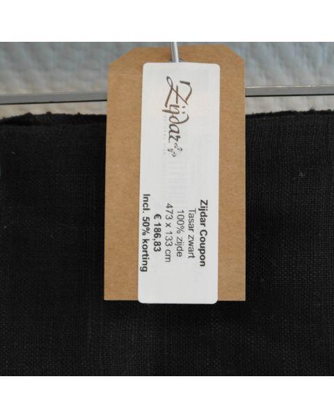 Zijdar coupon Tasar zwart / 100% zijde / 473 x 133 cm