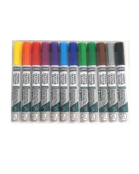 Textielstiften 12 basis kleuren