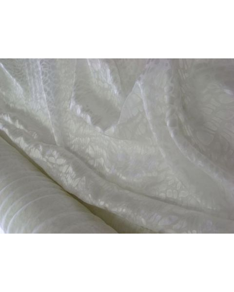 Satijn devoree Pebbles / Natuurwit / 140 cm breed