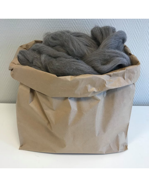 3 kilo Lontwol Antraciet/Bruin gemeleerd (woondeken/plaid)