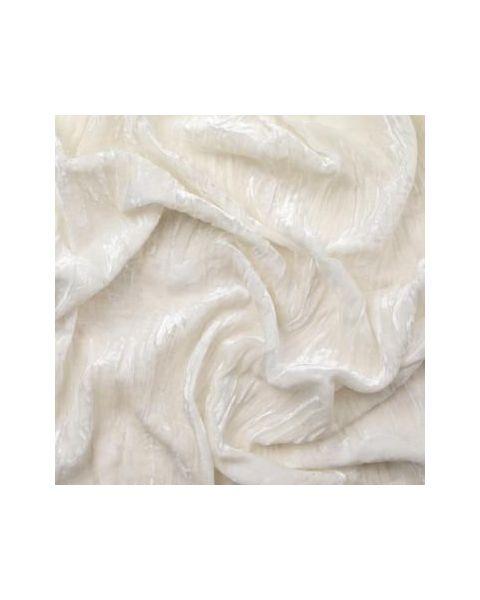 Zijde-Viscose Fluweel Crushed / Ivoor / 114 cm breed