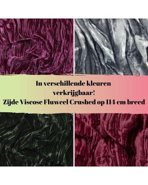 Zijde viscose fluweel crushed in diverse kleuren verkrijgbaar!