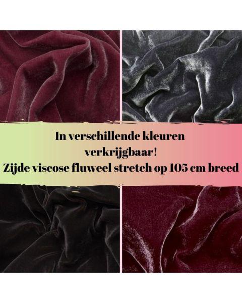 Zijde Viscose fluweel - Stretch - Kleur