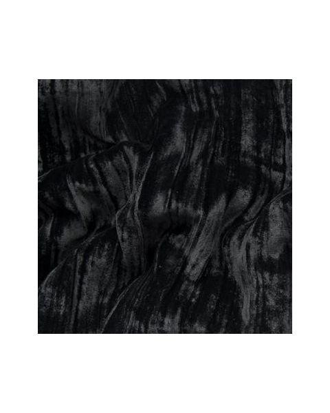 Zijde-Viscose Fluweel Crushed / Zwart / 114 cm breed